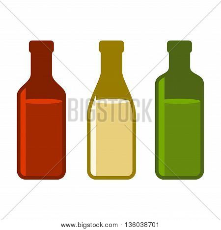 Colors Wine Bottles Set on White Background. Vector illustration