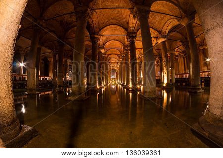 The Basilica Cistern is the largest of several hundred ancient cisterns that still lie beneath the city of Istanbul former Constantinople Turkey