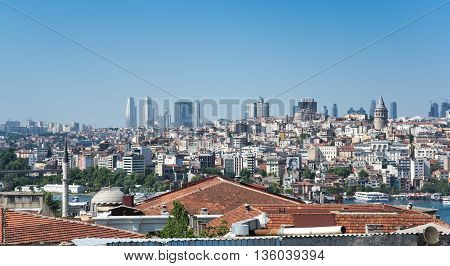 ISTANBUL TURKEY - JUNE 20 2015: Panoramic view of european part of Istanbul Turkey