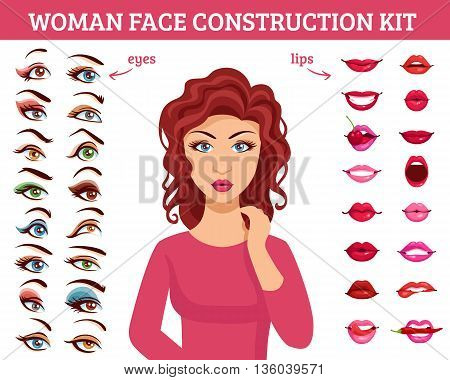 Woman face construction kit with eyes and lips makeup flat vector illustration