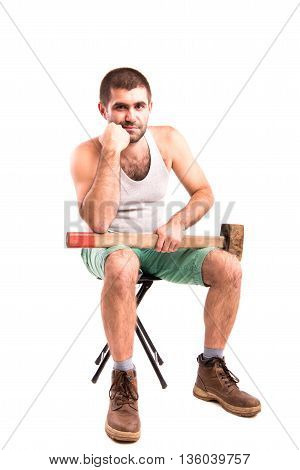 A Man With A Hammer On A White Background