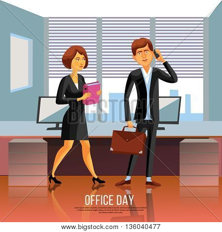 Cartoon style poster of business man and woman in black suit and dress in office vector illustration