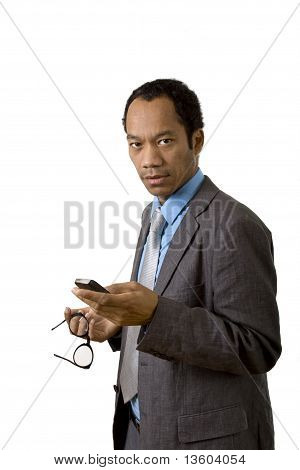 Smart business man with mobile phone
