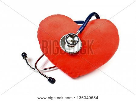 Red heart and stethoscope on white