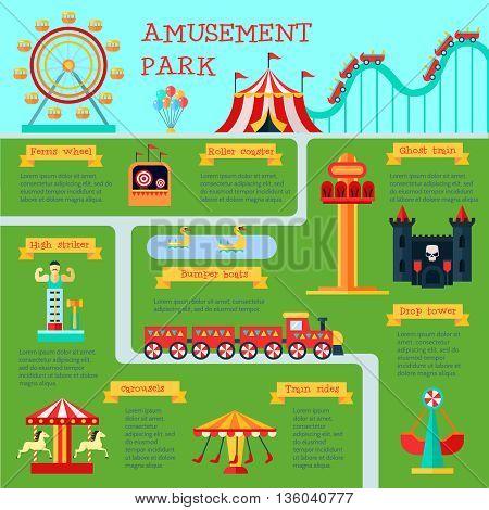 Amusement park infographic set with family fun symbols flat vector illustration