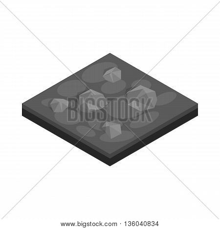 Stones landscape icon in isometric 3d style isolated on white background. Nature symbol