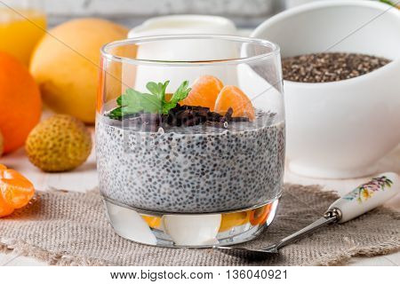 Chia Seed Pudding  With Mangoes And Tangerines