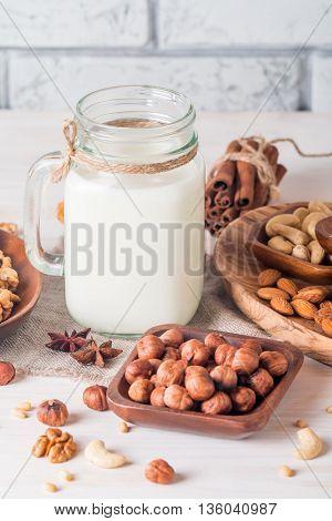 Vegan Milk From Nuts In Glass Jar