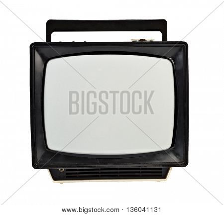 Vintage analog portable TV isolated on white