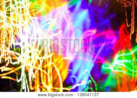 Multicolor bokeh moving blur background (Christmas lights)