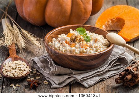 Breakfast Oatmeal Porridge With Pumpkin