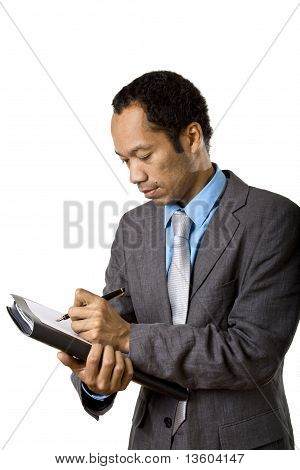 Business male writing note