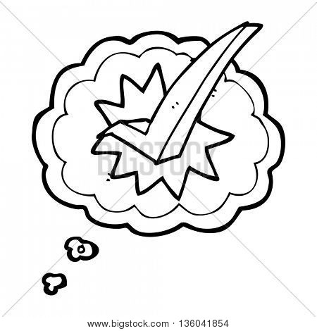 freehand drawn thought bubble cartoon tick symbol