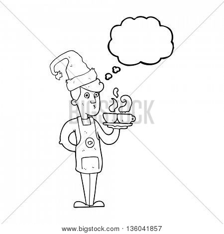 freehand drawn thought bubble cartoon barista serving coffee at christmas