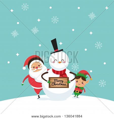 Merry Christmas concept represented by santa, elf and snowman cartoon icon. Colorfull illustration and Blue background