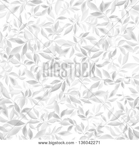 Light gray leaves seamless pattern. Background with natural branches