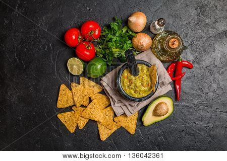 Bowl Of Delicious Homemade Guacamole With Nachos