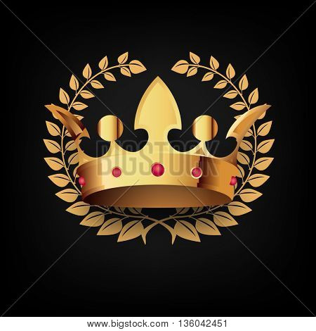 Golden Royal Crown with Laulel Wreath.