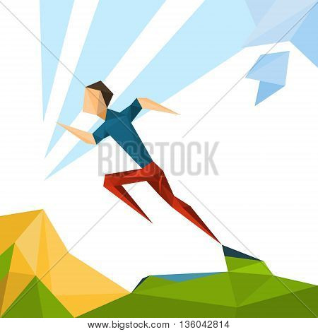 Running Athlete Sprinter Sport Competition Vector Illustration