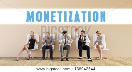 Business Monetization Being Discussed in a Group Meeting 3D Illustration Render