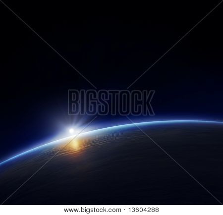 Planet Earth With Rising Sun