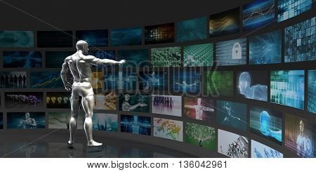 Abstract Data Management and Tracking Online Concept 3D Illustration Render