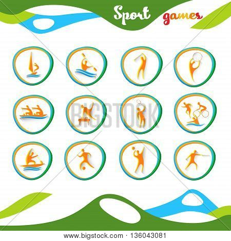 Sport Icon Set Athlete Competition Collection Vector Illustration