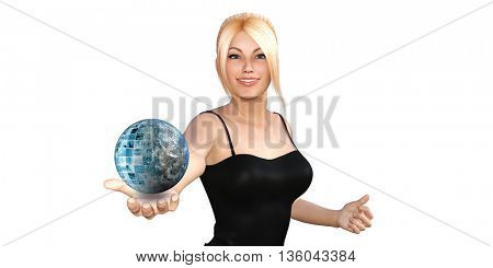 Global Technology Concept with Woman Holding Globe 3D Illustration Render
