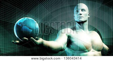 Businessman Holding the World in His Hands Illustration 3D Render
