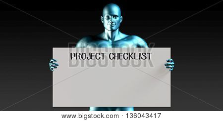 Project Checklist with a Man Carrying Reminder Sign 3d Illustration Render