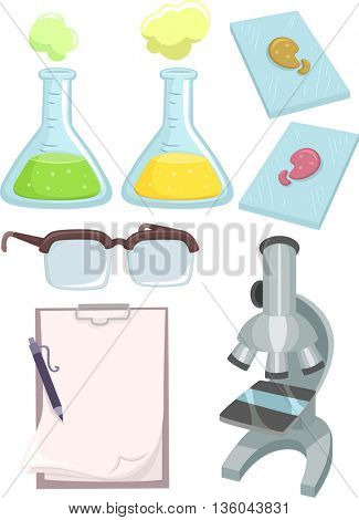 Illustration Featuring Different Science Lab Tools