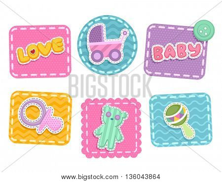 Illustration Featuring Baby Related Patches