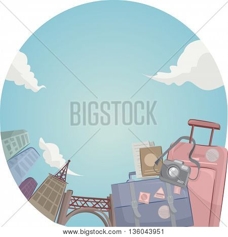 Illustration of a Pair of Traveling Bags Against a City Skyline Background