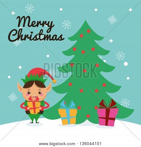 Merry Christmas concept represented by elf cartoon icon. Colorfull illustration and Blue background