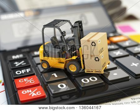 Forklift with cardboxes on calculator. Calculation of shipping delivery costs concept. 3d illustration