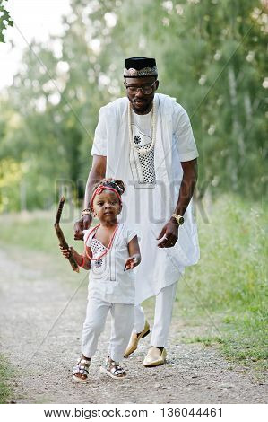 Black african father and daughter having fun