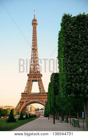 Eiffel Tower as the famous city landmark in Paris