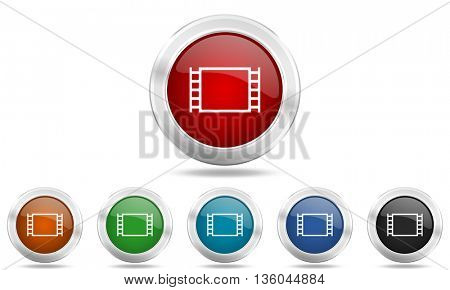 movie round glossy icon set, colored circle metallic design internet buttons