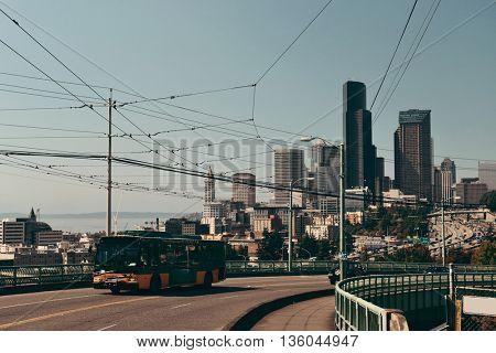 Highway and traffic with Seattle downtown architecture