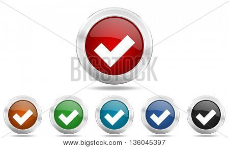 accept round glossy icon set, colored circle metallic design internet buttons