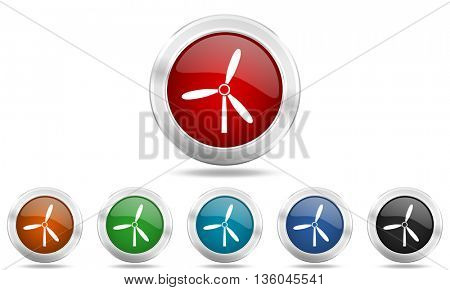 windmill round glossy icon set, colored circle metallic design internet buttons