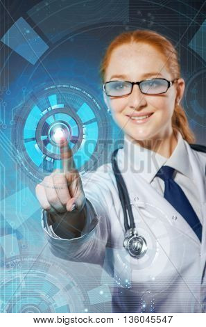 Female doctor with set of abstract elements
