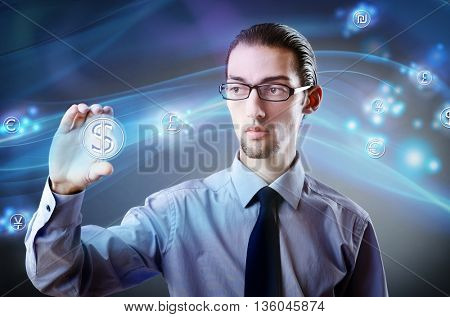 Man pressing dollar sign in finance concept