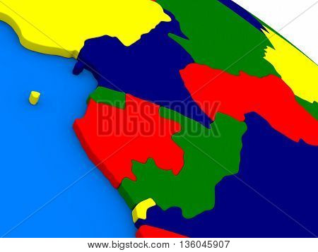 Cameroon, Gabon And Congo On Colorful 3D Globe