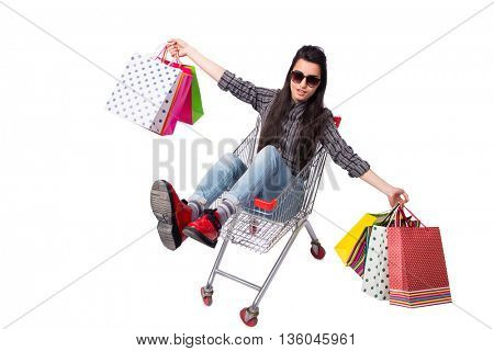 Young woman happer after shopping isolated on white