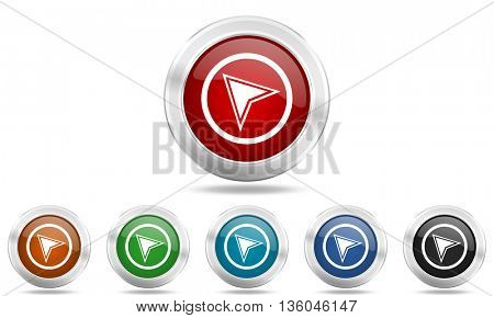 navigation round glossy icon set, colored circle metallic design internet buttons