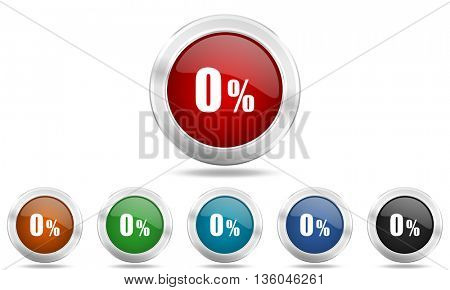 0 percent round glossy icon set, colored circle metallic design internet buttons