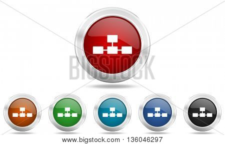 database round glossy icon set, colored circle metallic design internet buttons