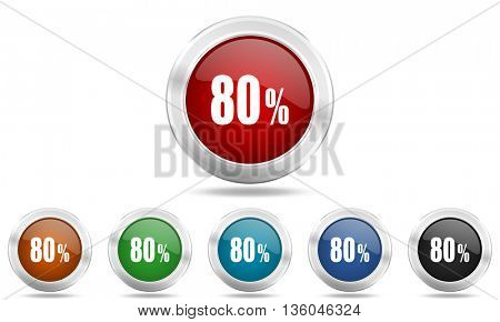 80 percent round glossy icon set, colored circle metallic design internet buttons