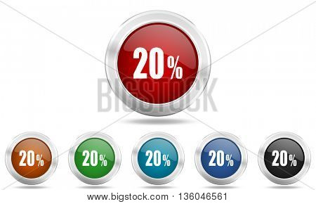 20 percent round glossy icon set, colored circle metallic design internet buttons